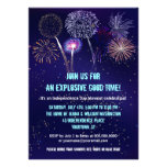 Night Sky Fireworks 4th of July Party Invitation