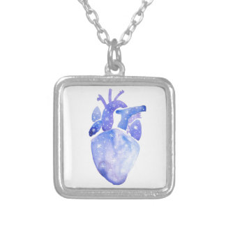 Night Sky Heart Silver Plated Necklace