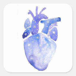 Night Sky Heart Square Sticker