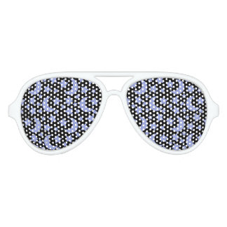 Night Sky in Black and Blue Stars and Moons Aviator Sunglasses