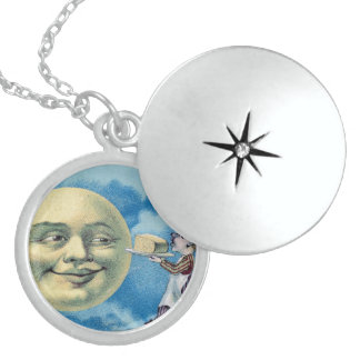 Night Sky Lights Moon Stars Astronomy Space Round Locket Necklace