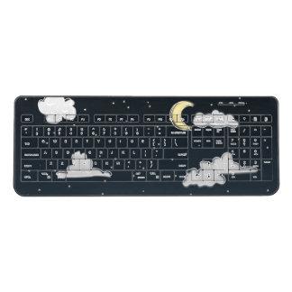 Night sky, moon and clouds wireless keyboard