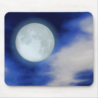 Night Sky with Moon and Clouds Mouse Pad
