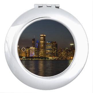 Night Skyline Chicago Pano Compact Mirror