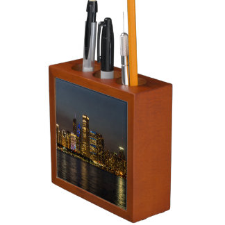 Night Skyline Chicago Pano Desk Organizer