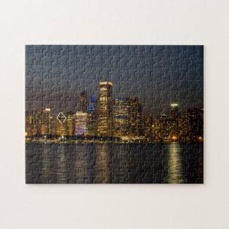Night Skyline Chicago Pano Jigsaw Puzzle