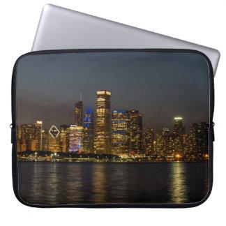 Night Skyline Chicago Pano Laptop Sleeve