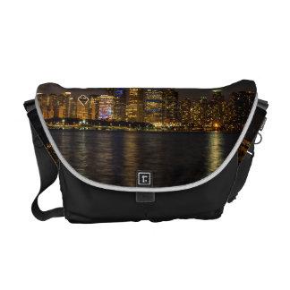 Night Skyline Chicago Pano Messenger Bag