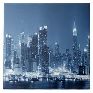 Night Skyline Manhattan Panoramic View Ceramic Tile