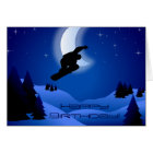 Night Snowboarding Mountain Moon Happy Birthday Card