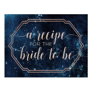 Night Star Sky Celestial Galaxy Bride Recipe Card