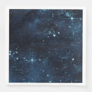 Night Star Sky Celestial Galaxy Watercolor Wedding Disposable Napkin