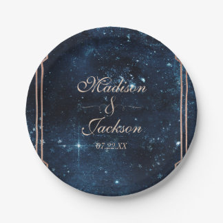 Night Star Sky Celestial Galaxy Wedding Monogram 7 Inch Paper Plate