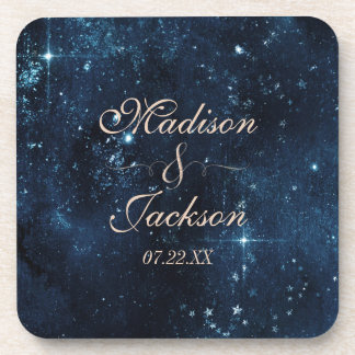 Night Star Sky Celestial Galaxy Wedding Monogram Coaster