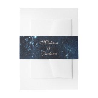 Night Star Sky Celestial Galaxy Wedding Monogram Invitation Belly Band