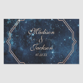 Night Star Sky Celestial Galaxy Wedding Monogram Sticker