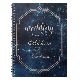 Night Star Sky Celestial Galaxy Wedding Planner Spiral Note Book
