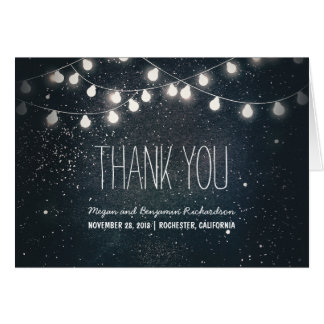 Night Stars and String Lights Wedding Thank You Card
