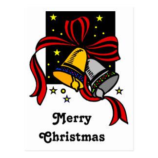 Night Stars Christmas Bells Postcard