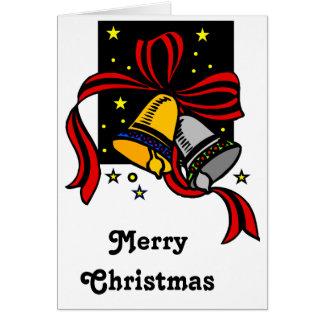 Night Stars Merry Christmas Bells Greeting Card