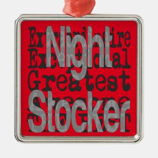 Night Stocker Extraordinaire Silver-Colored Square Ornament