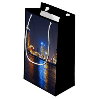 Night Themed, A City Glowing With Colorful Lights Small Gift Bag