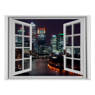 Night Time City Faux Window View Poster