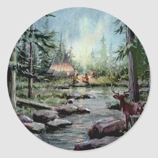 NIGHT TIME TIPI CAMP by SHARON SHARPE Classic Round Sticker