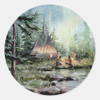 NIGHT TIPI CAMP by SHARON SHARPE Classic Round Sticker