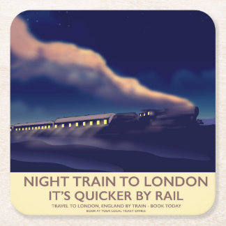 Night Train To London. Square Paper Coaster