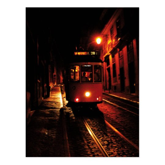 Night Tram in Lisbon Postcard