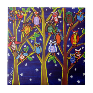 Night Tree Owls Whimsical Folk Art Tile