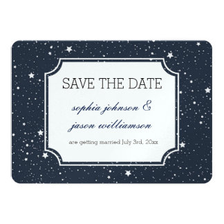 """Night Under the Stars save the date 5"""" X 7"""" Invitation Card"""