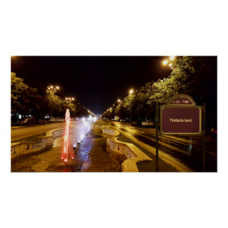 Night view at colorful fountain in Bucharest, Roma Poster