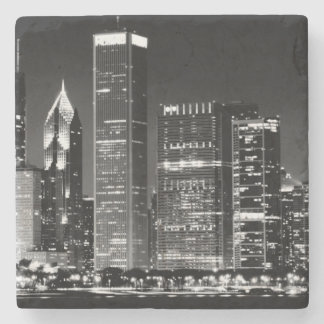 Night view of Chicago's famous cityscape Stone Coaster