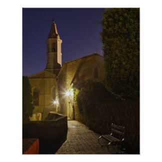 Night view of church at dusk, Pienza, Italy Poster