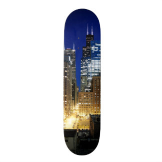 Night view of cityscape of Chicago Skate Board Deck