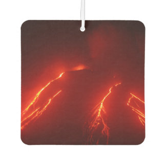 Night view of lava flows on slope of volcano car air freshener