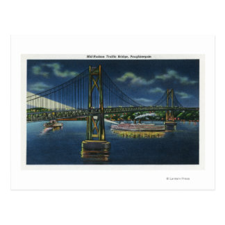 Night View of Mid-Hudson Traffic Bridge Postcard
