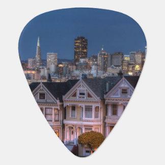 Night view of 'painted ladies'  houses guitar pick