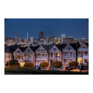 Night view of 'painted ladies'  houses perfect poster