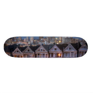 Night view of 'painted ladies'  houses skateboards