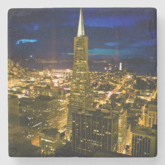 Night view of San Francisco. Stone Beverage Coaster