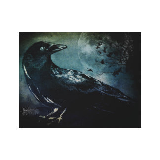 Night Watch Crow Full Moon Canvas Print