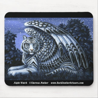 Night Watch Winged White Tiger Mousepad