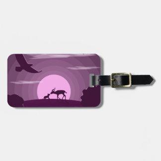 Night wild life luggage tag