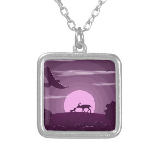 Night wild life silver plated necklace
