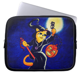 Night Witch Cat Laptop Sleeve
