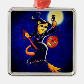 Night Witch Cat Metal Ornament