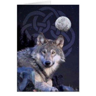 Night Wolf with Celtic Knot Card